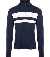 j. lindeberg men's striped stand-collar top - black - size s