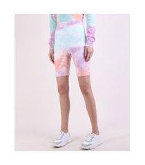bermuda feminina ciclista cintura super alta estampada tie dye multicor