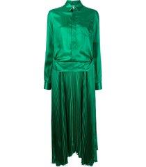 plan c ruched shirt dress - green