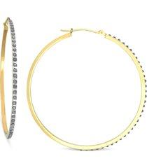 14k gold earrings, diamond accent hoop earrings