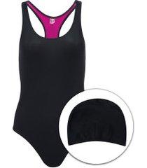 maiô para natação com touca oxer medley - adulto - preto