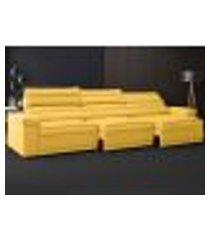 sofá lincoln assento retrátil e reclinável velosuede canário - netsofas