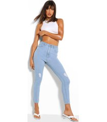 distressed skinny jeans met hoge taille, lichtblauw