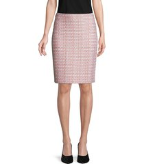 st. john women's porcelana knit tweed pencil skirt - white pink multi - size 14