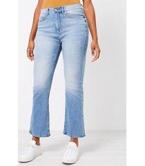 loft curvy high rise kick crop jeans in classic indigo wash