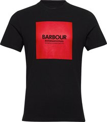 b.intl block tee t-shirts short-sleeved svart barbour