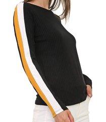 blusa lunender faixas laterais preta - preto - feminino - viscose - dafiti