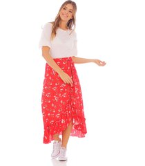 falda roja con estampado floral y boleros x49561