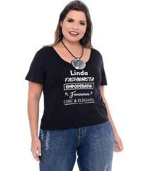 t-shirt preta plus size