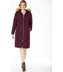 cole haan petite hooded faux-fur-trim down puffer coat