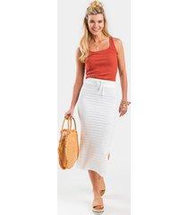sanya ribbed maxi skirt - white