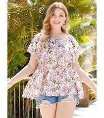 blusa de manga corta con cuello cuadrado y estampado floral rosa