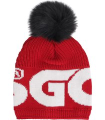 gcds knitted wool beanie with pom pon