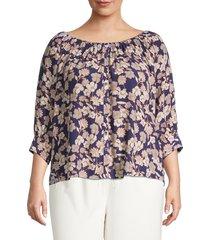sanctuary women's plus enchanted floral blouse - stencil floral - size 2x (18-20)