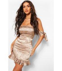 satijnen strapless jacquard jurk met geplooide zoom, taupe