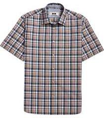 joseph abboud tan plaid short sleeve sport shirt