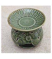 ceramic oil warmer, 'fragrant sunflower' (indonesia)