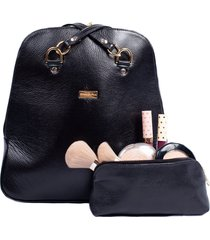 kit mochila 2 em 1 de couro preta porta maquiagem em couro
