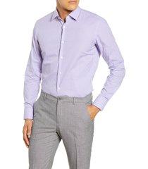 men's big & tall boss slim fit check dress shirt, size 18 - purple