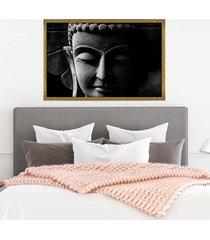 quadro com moldura buddha em cinza dourado - médio - tricae