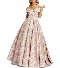mac duggal women's floral embroidered ball gown - rose - size 6