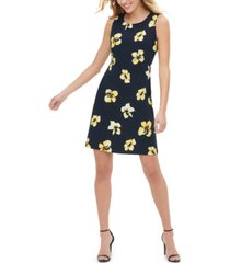 tommy hilfiger petite floral-print sheath dress