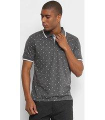 camisa polo broken rules malha mini print folhagem masculina