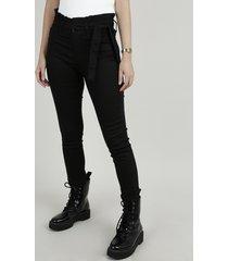 calça de sarja feminina sawary clochard cropped heart cintura alta com faixa para amarrar preta