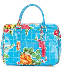comme des garçons girl floral print zip-up tote bag - blue