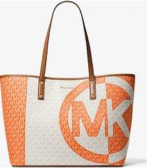 mk borsa tote carter grande bicolore con logo - clemntne mlt - michael kors