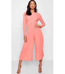 knot front woven culotte jumpsuit, coral