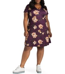 plus size women's poetic justice sapphire floral print dress, size 3x - purple