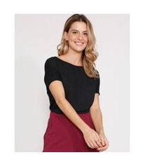blusa ampla de viscose manga curta decote redondo preta