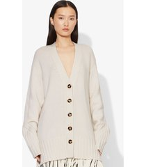 proenza schouler cashmere traveling rib knit cardigan ivory/white m