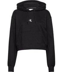 puff print cropped hoodie hoodie svart calvin klein jeans
