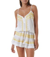 melissa odabash karen cover-up minidress, size small in white/yellow at nordstrom