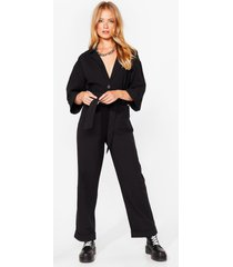 womens slouching around oversized belted boilersuit - black