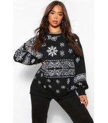 extreme oversized bandana print sweater, zwart