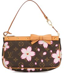 louis vuitton x takashi murakami cherry blossom clutch - brown