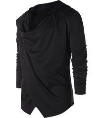 asymmetric open front hooded coat