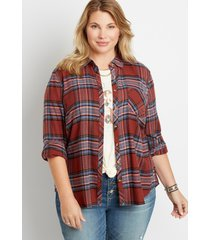 maurices plus size womens berry plaid button down long sleeve shirt red