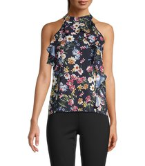 parker women's floral-print ruffled halter top - black multi - size s