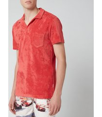 orlebar brown men's terry polo shirt - blush - l