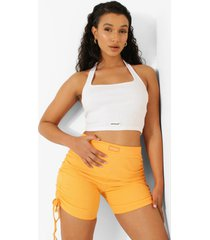 geribbelde premium crop top met halter neck, white