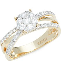 14k yellow gold & diamond criss cross ring