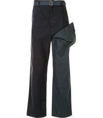 maison mihara yasuhiro layered straight-leg work trousers - blue