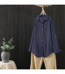zanzea larga para mujer de la manga del dril de algodón del botón ocasional del bolsillo holgado tops camisas de la blusa -azul oscuro