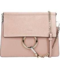chloé faye smal shoulder bag in rose-pink suede and leather