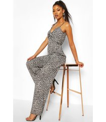 twist front leopard print woven jumpsuit, brown
