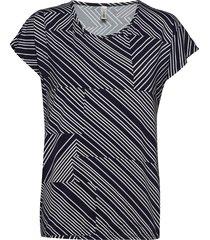 sc-marica aop t-shirts & tops short-sleeved blå soyaconcept